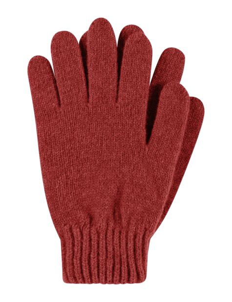 Ladies 1 Pair Great & British Knitwear Made In Scotland 100% Cashmere Plain Gloves In Red Product Image