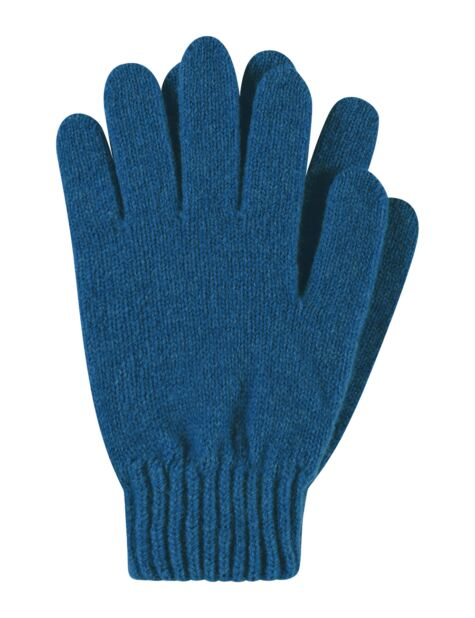 Ladies 1 Pair Great & British Knitwear Made In Scotland 100% Cashmere Plain Gloves In Blue Product Image