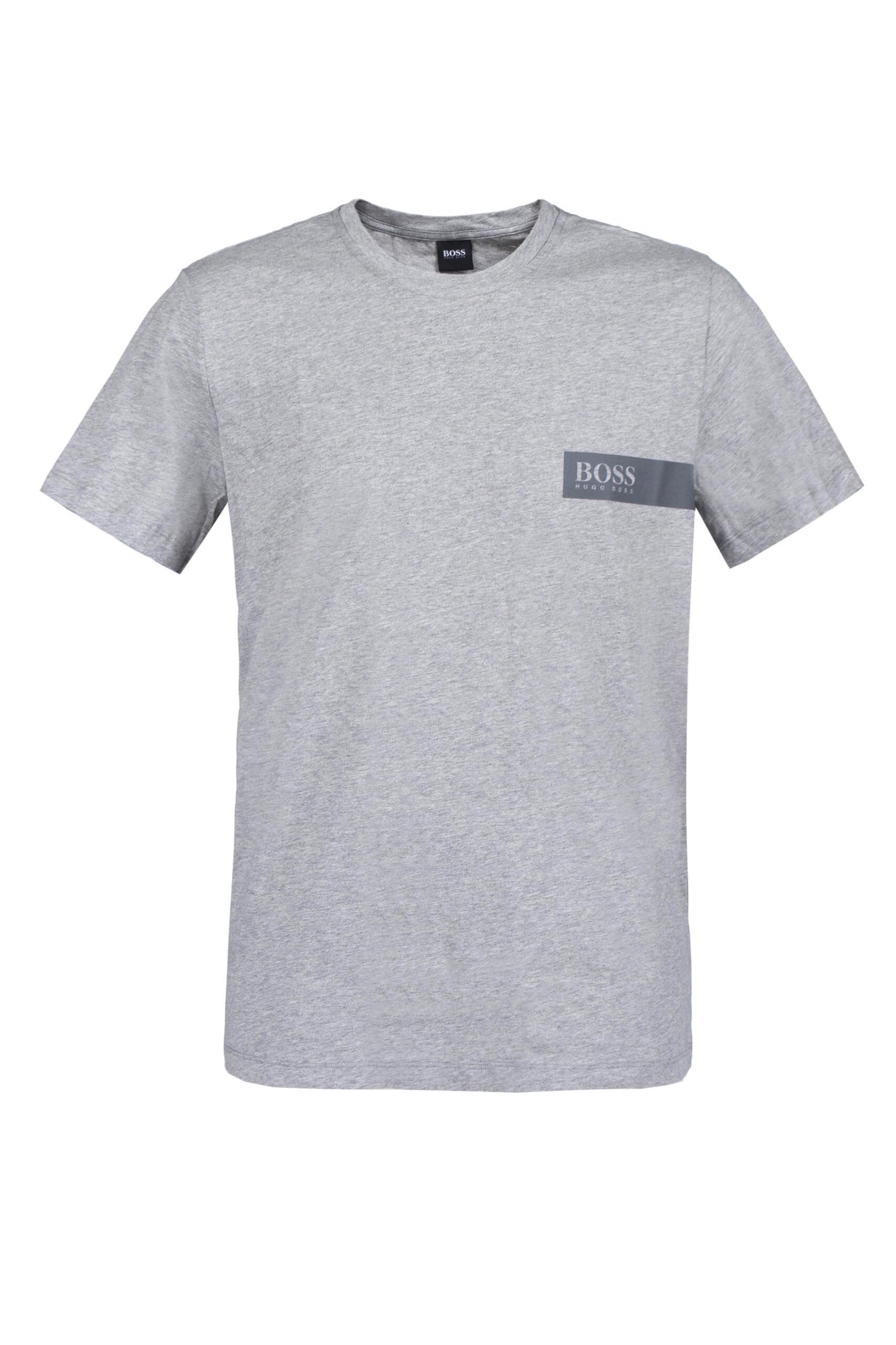 Image of 1 Pack Grey BOSS Round Neck Boss Chest Logo T-Shirt Men's Large - Hugo Boss