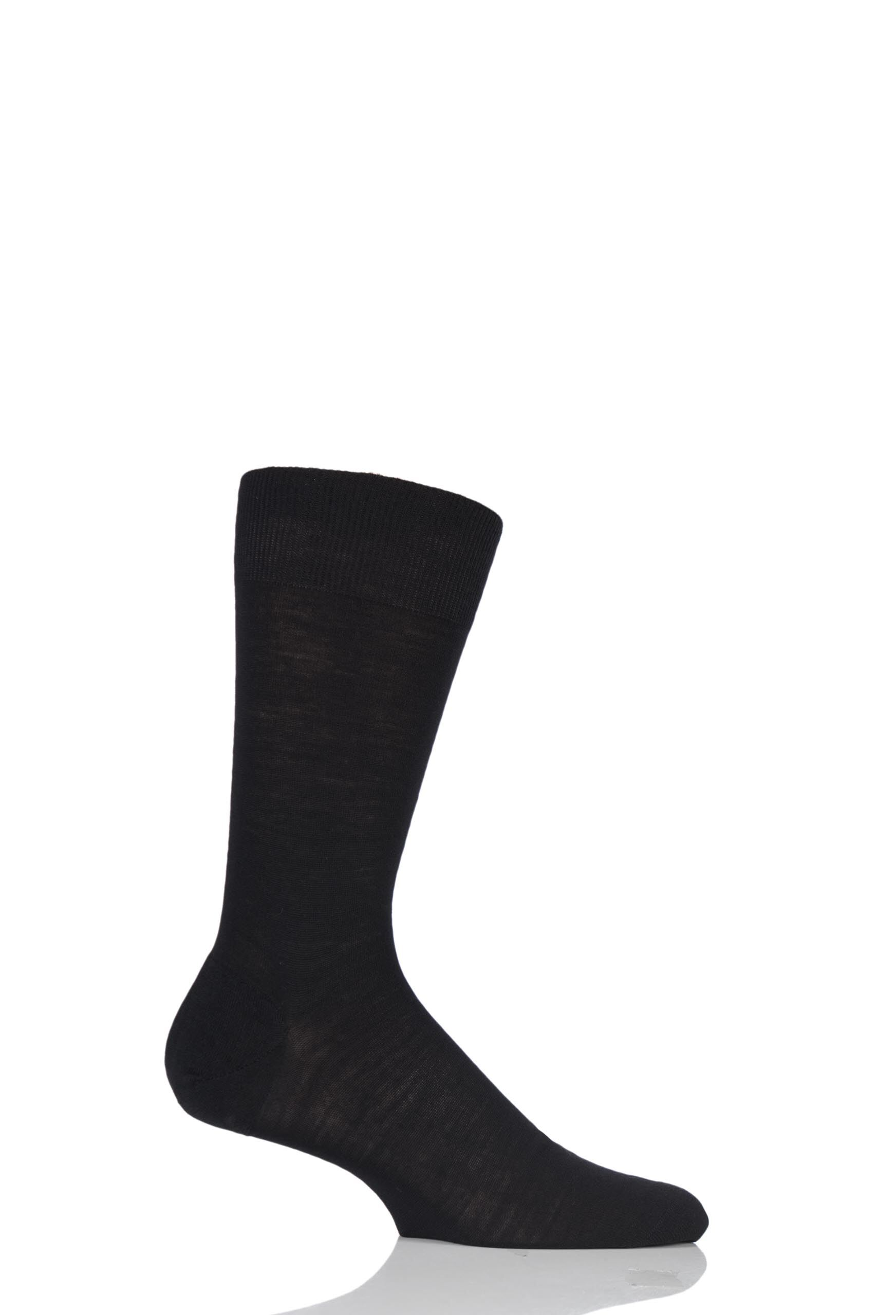 Image of 1 Pair Black Camden Merino Wool Plain Socks Men's 10-12 Mens - Pantherella