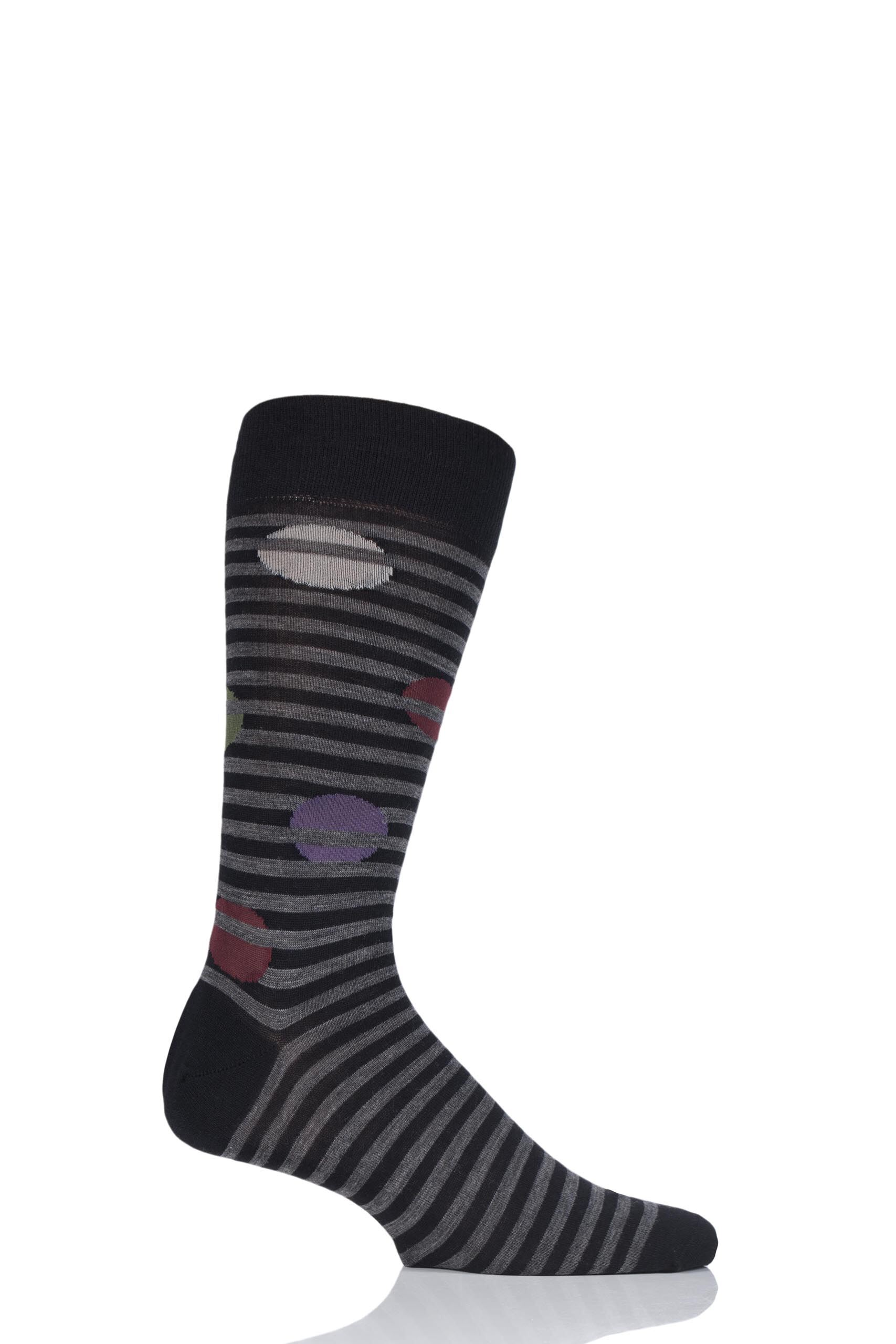 Image of 1 Pair Black Berner Spot and Stripe Merino Wool Socks Men's 10-12 Mens - Pantherella