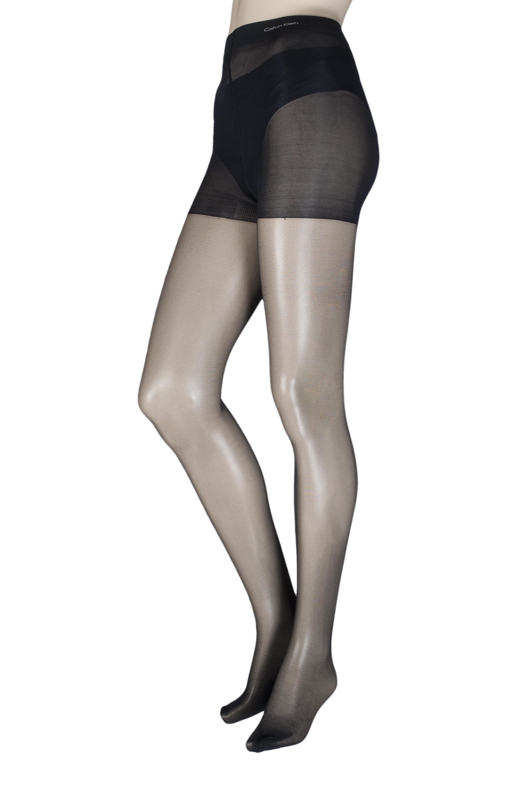 Image of 1 Pair Black Sheer Essentials 15 Denier Tights Ladies Large - Calvin Klein