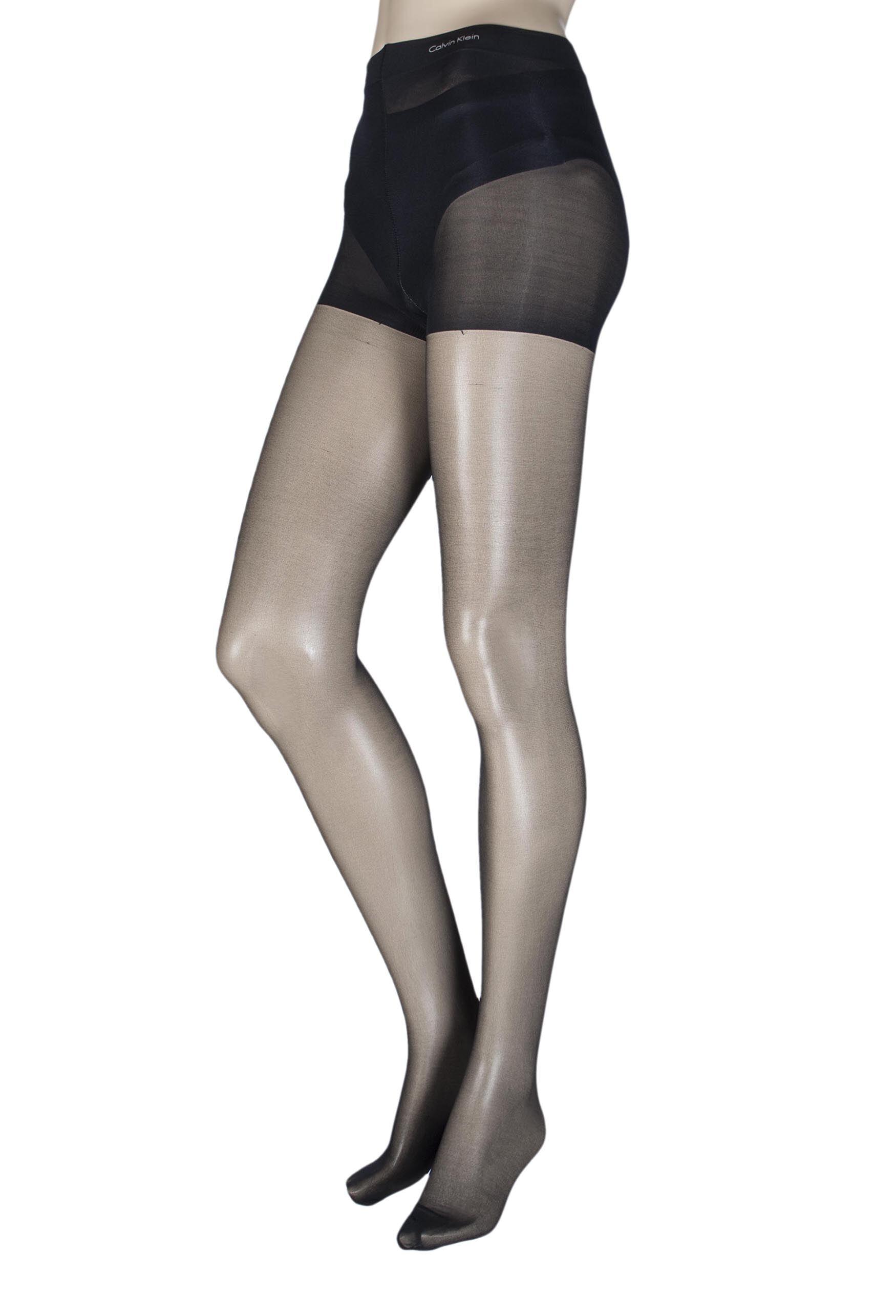 Image of 1 Pair Black Ultra Bare Infinate Sheer Tights with Control Top Ladies Medium - Calvin Klein