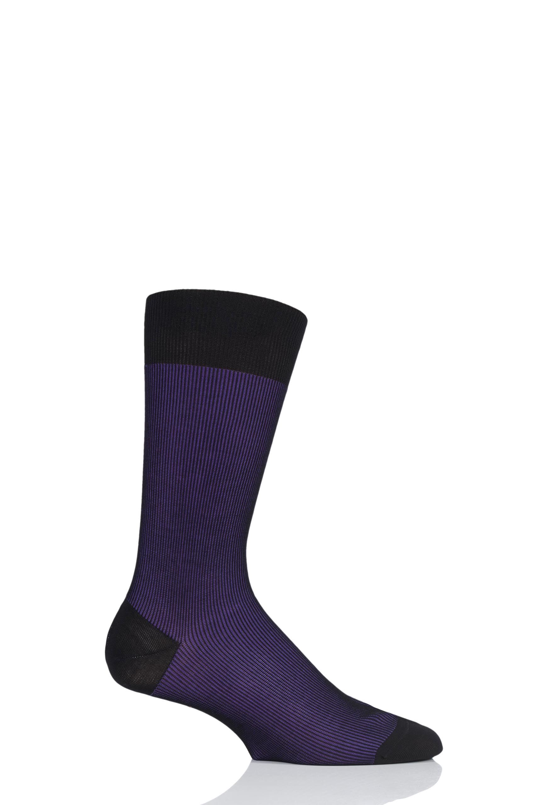 Image of 1 Pair Black 2 Santos Shadow Rib Cotton Lisle Socks Men's 7.5-9.5 Mens - Pantherella
