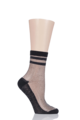 1 Pair Elle Silver Lurex Sporty Anklet Socks - Black