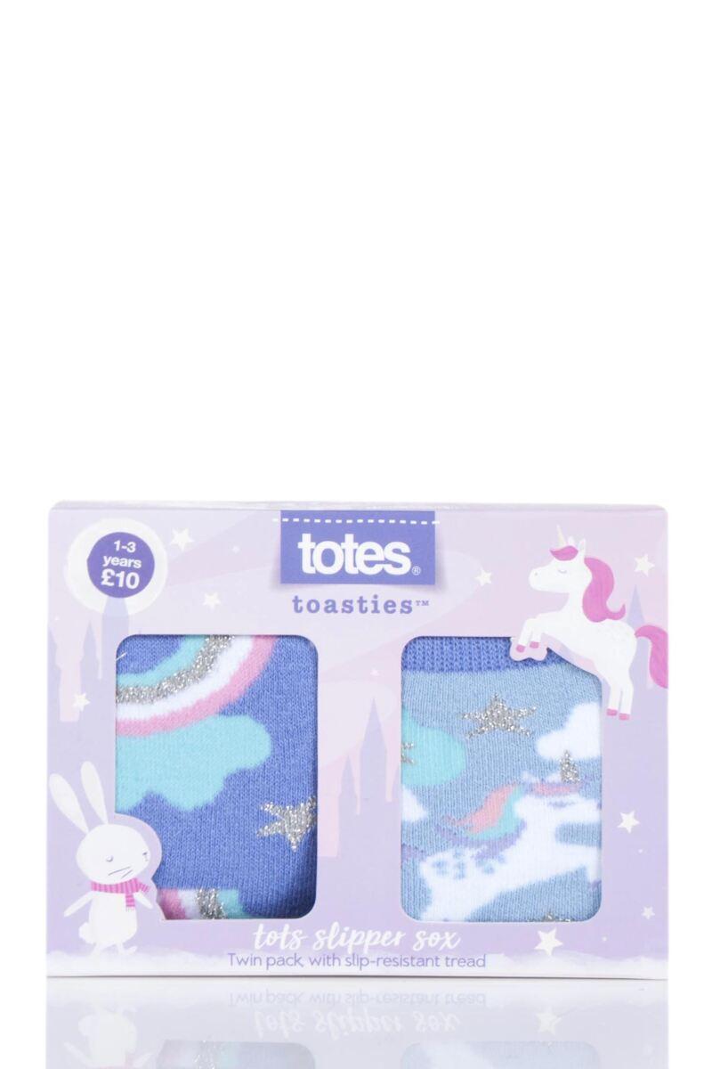 2 Pair Tots Originals Novelty Slipper Socks Girls - Totes