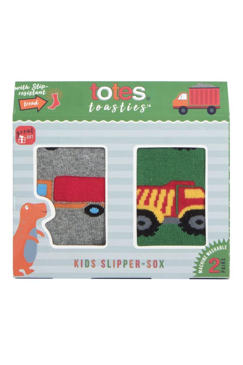2 Pair Tots Originals Novelty Slipper Socks Boys - Totes