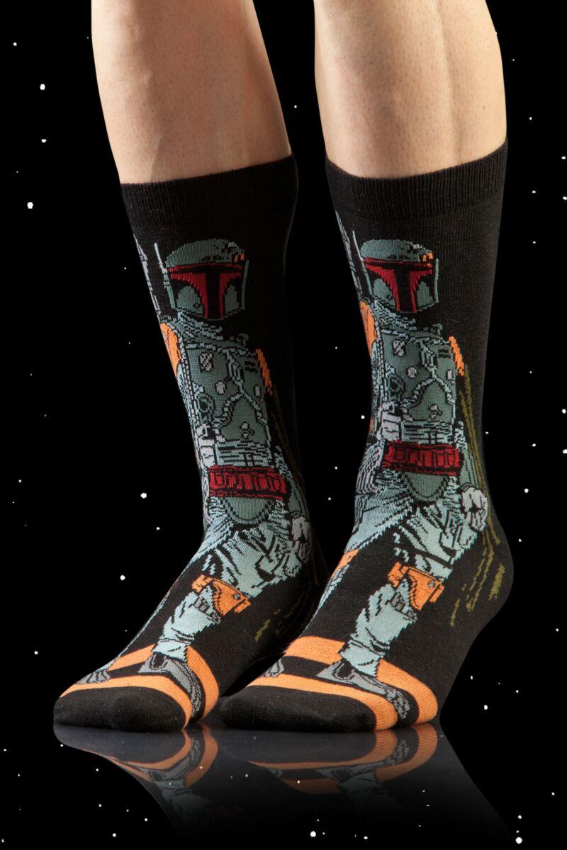 Darth Vader Boba Fett Stormtrooper Empire Crew Socks 3-Pack Gift Box
