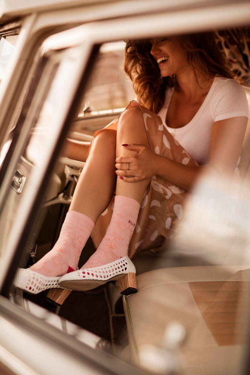 Ladies 2 Pair Elle Bamboo Patterned and Plain Socks