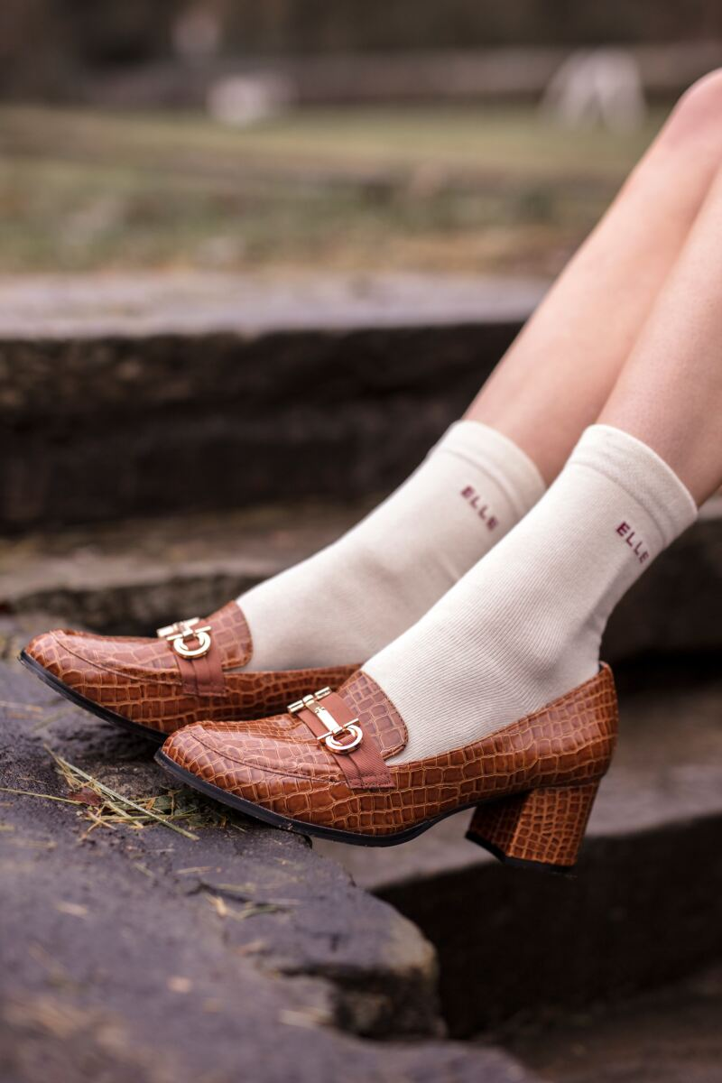 Ladies 3 Pair Elle Plain, Striped and Patterned Cotton Socks with Hand Linked Toes
