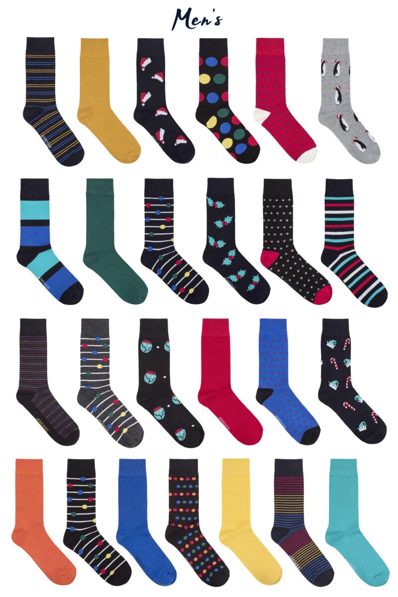 Mens and Ladies SOCKSHOP 25 Pair Christmas Advent Calendar