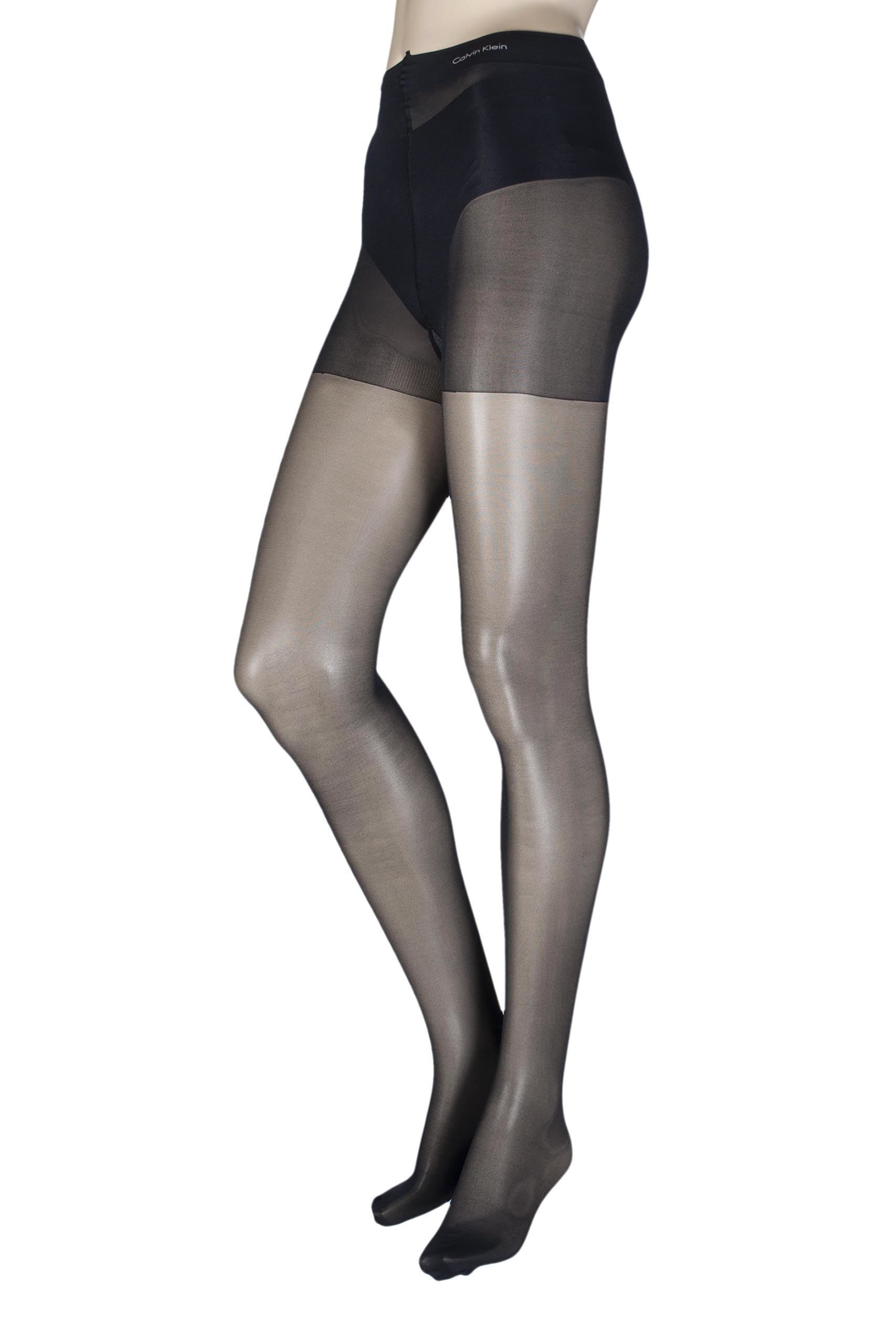 Image of 1 Pair Black Sheer Essentials Active Tights with Control Top Ladies Large - Calvin Klein