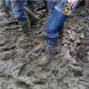 Brits in bright socks 'under festival mud'