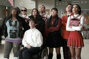 Glee stars shining in bright tights