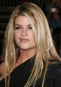 Kirstie Alley models in black leggings