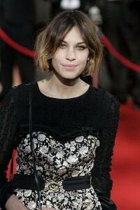 Alexa Chung appears bony in wool tights