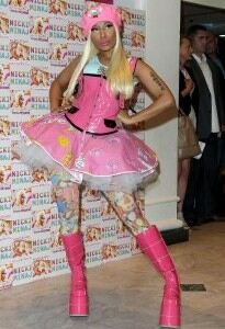 Nicki Minaj works childish look in cartoon tights