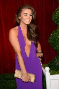 Brooke Vincent does glamorous with glitzy clutch bag