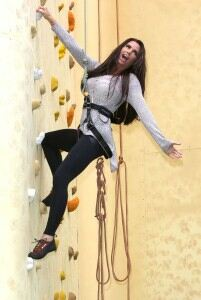 Katie Price tries climbing in black leggings