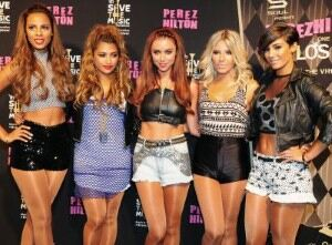 The Saturdays party at VMAs in tan tights