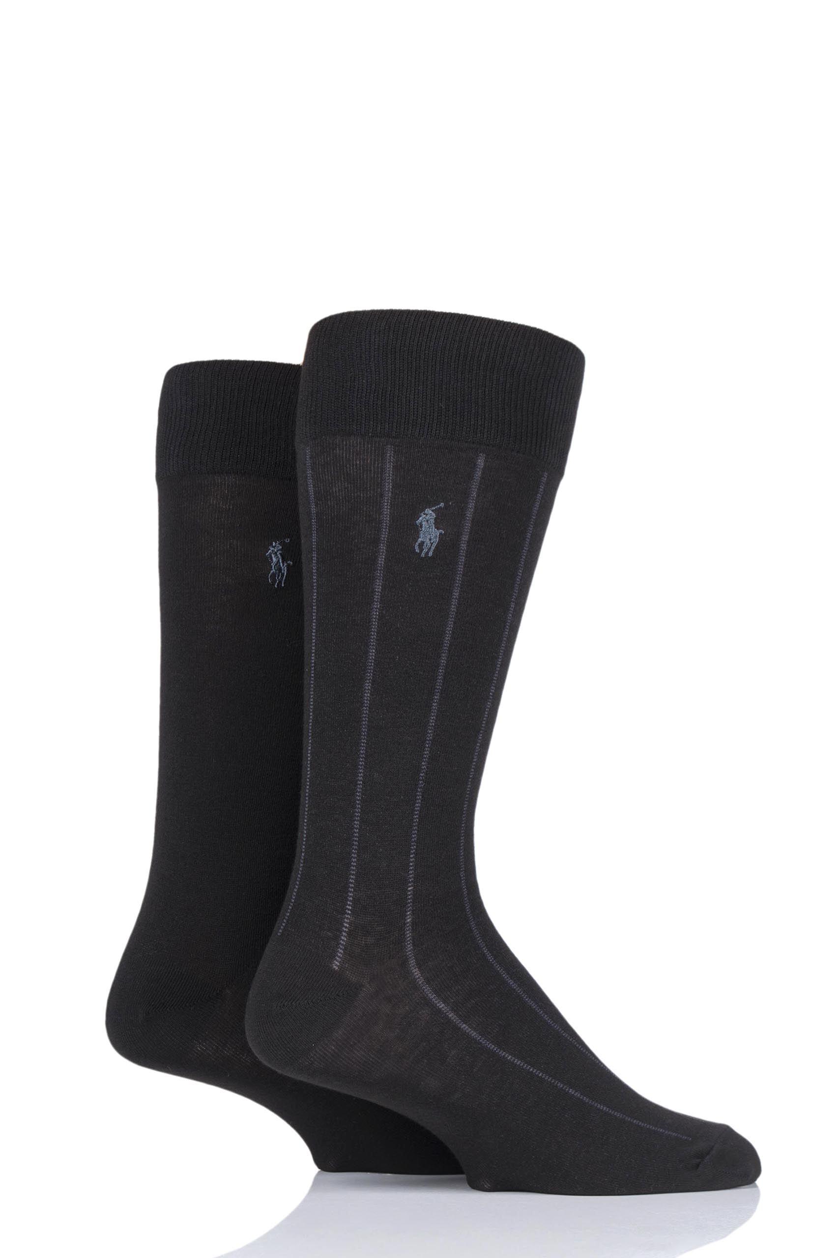 Image of 2 Pair Black Cotton Vertical Stripe and Plain Socks Men's 6-11 Mens - Ralph Lauren