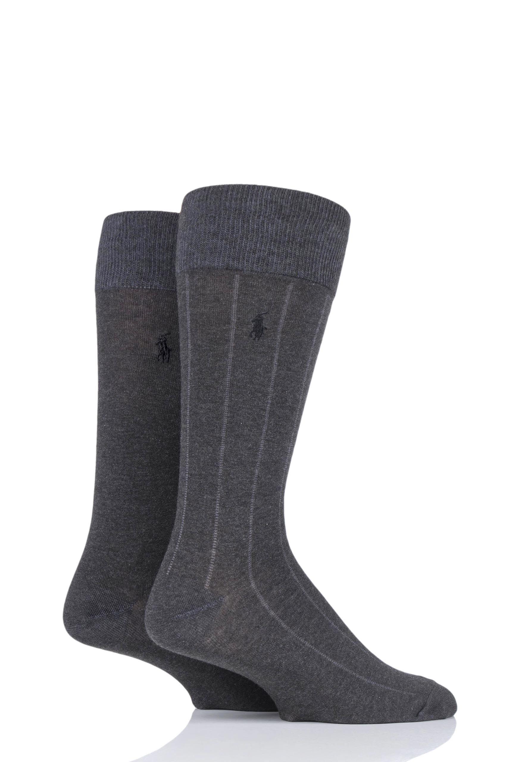 Image of 2 Pair Charcoal Cotton Vertical Stripe and Plain Socks Men's 6-11 Mens - Ralph Lauren