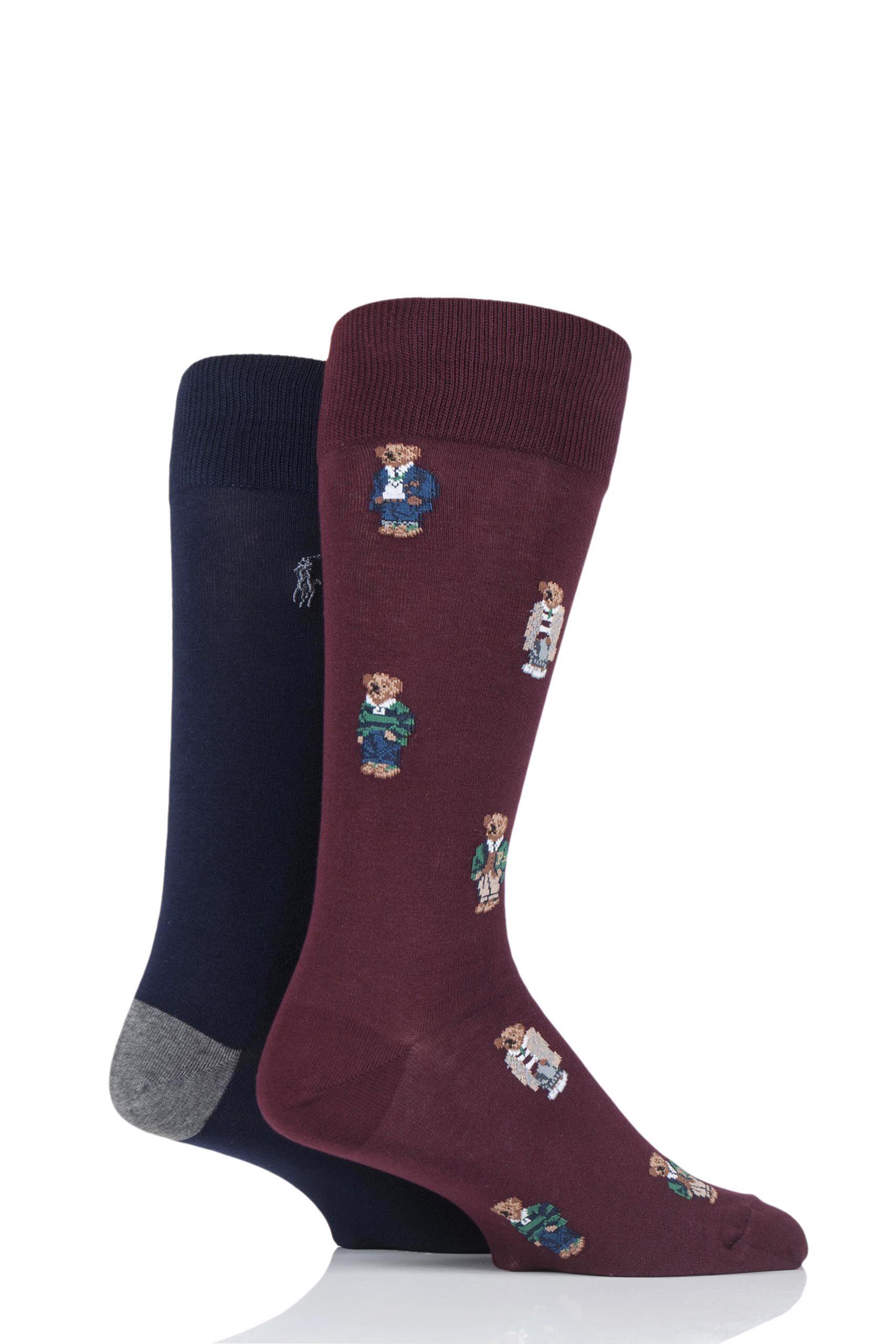 Image of 2 Pair Clas Wine/ Cru Nav/ Fost Grey 4 Bear Cotton Socks Men's 6-11 Mens - Ralph Lauren