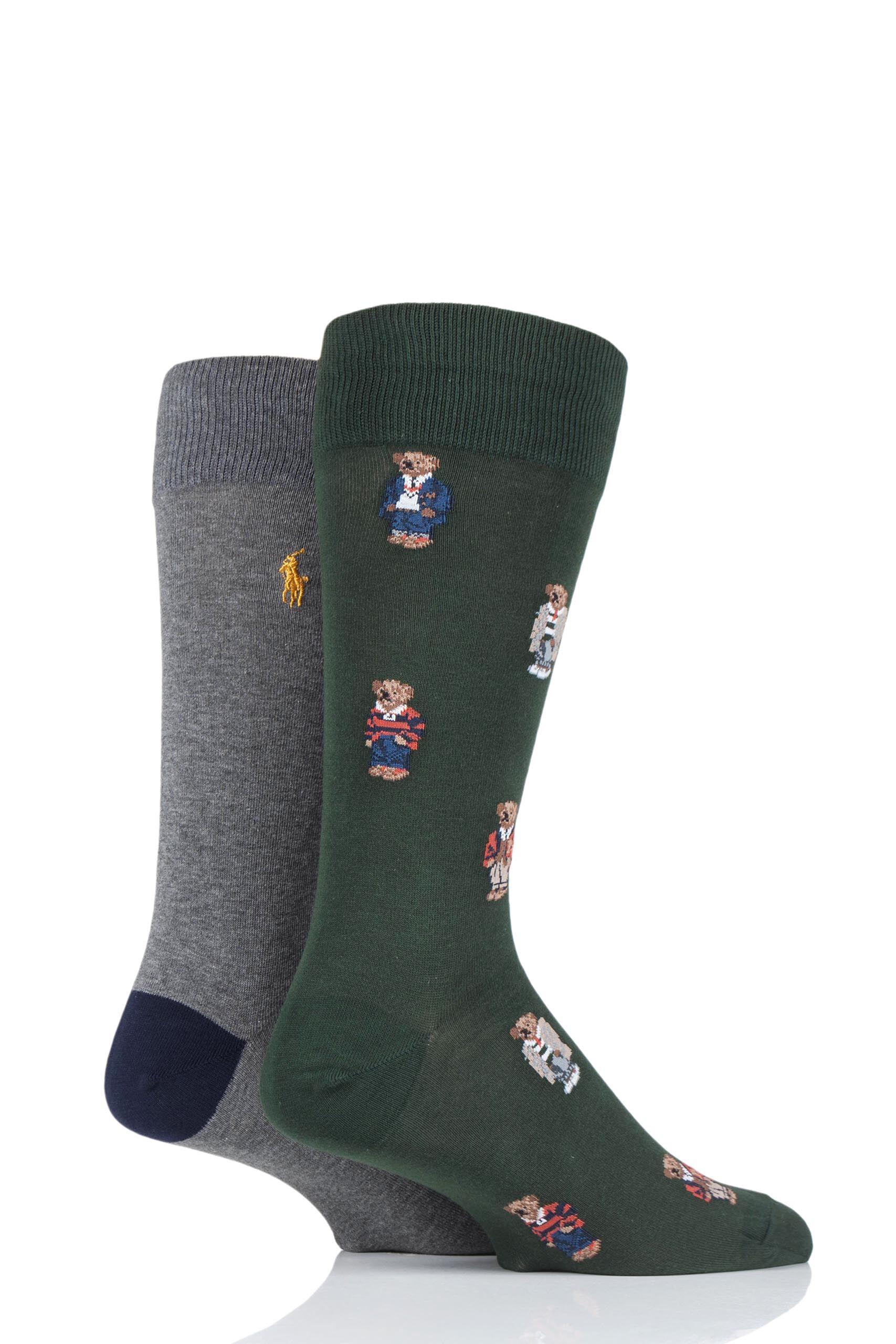 Image of 2 Pair Col Green/ Fost Grey/ Cru Nav 4 Bear Cotton Socks Men's 6-11 Mens - Ralph Lauren