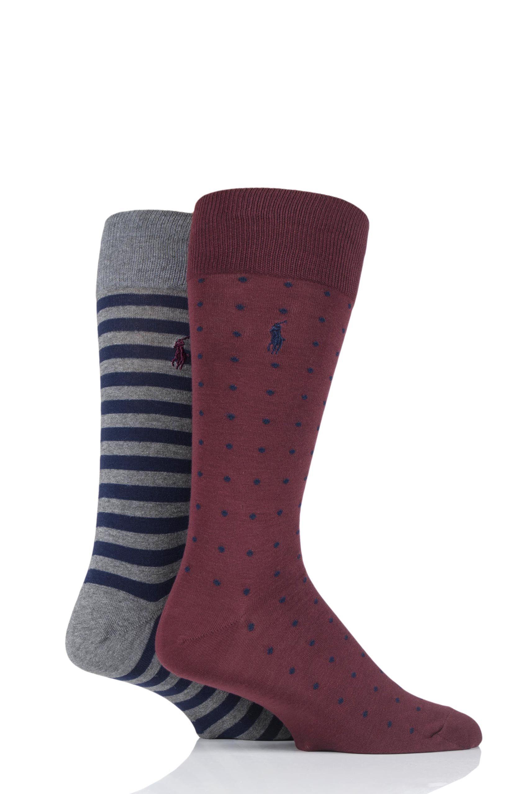 Image of 2 Pair Clas Wine/ Cru Navy/ Fos Grey Dot and Stripe Cotton Socks Men's 44141 - Ralph Lauren