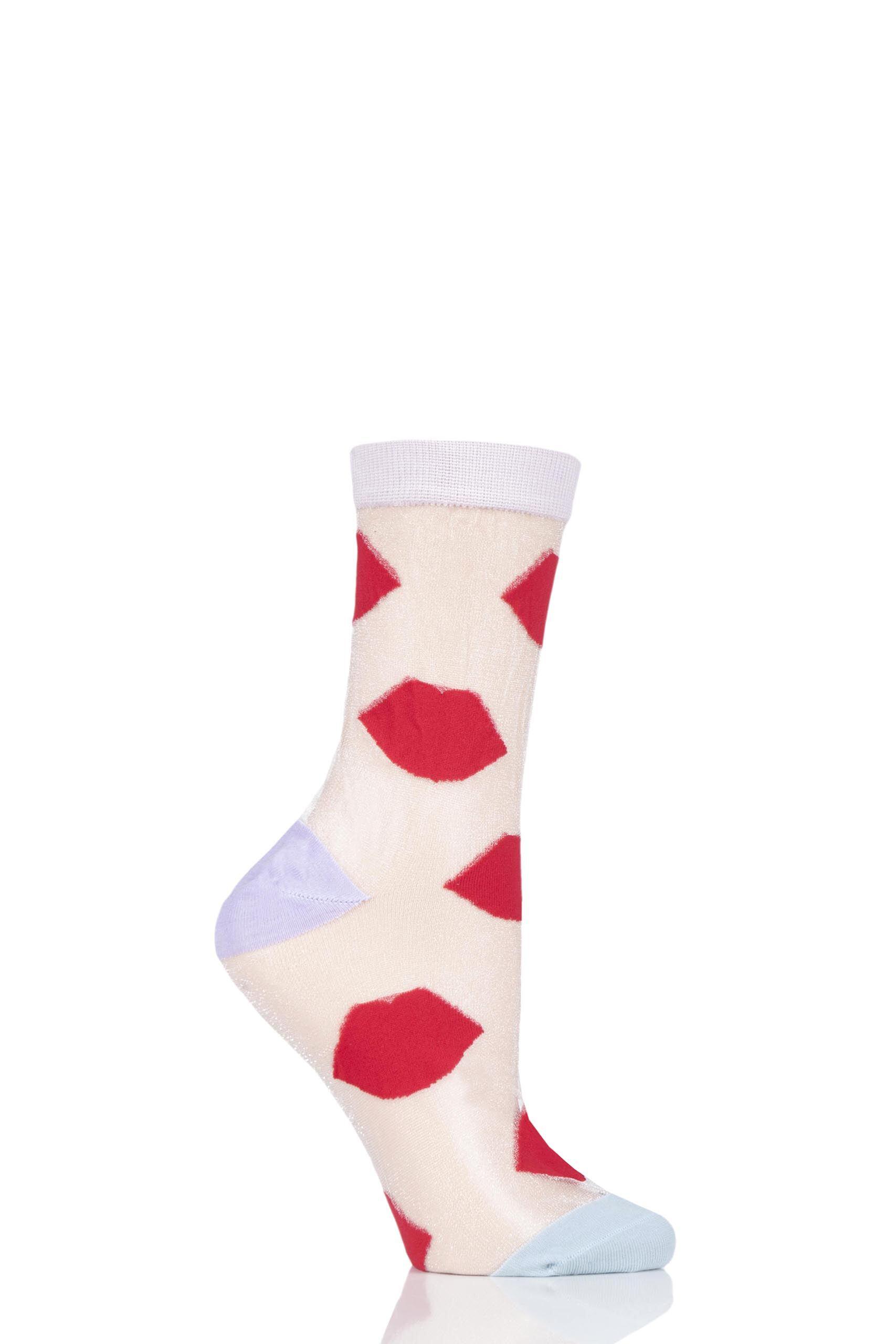 Image of 1 Pair Multi Red Lips on White Bamboo Socks Ladies 4-8 Ladies - Lulu Guinness