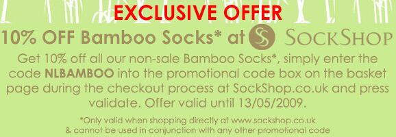 Bamboo Offer - EXCLUSIVE NEWSLETTER OFFER - Get 10% Off All Non-Sale Bamboo Socks at SockShop.co.uk valid until 13/05/2009