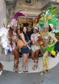 Brazilian dancers wear stockings at launch