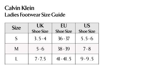 Calvin Klein - Ladies Footwear Size Guide