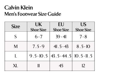 Calvin Klein - Men's Footwear Size Guide
