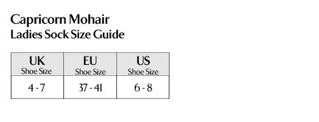 Capricorn Mohair - Ladies Socks Size Guide