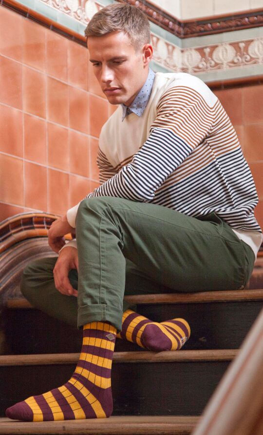 Chris wearing the Farah 1920 cotton chunky ribbed leisure boot socks >