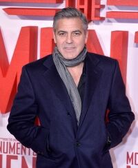 Clooney is stylish in scarf