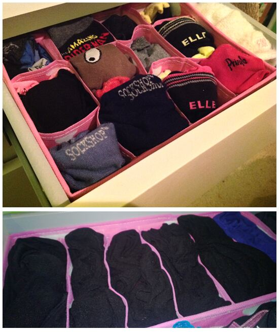 Danielle's organised sock drawer!
