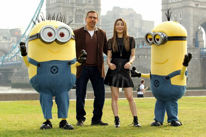 PA.16847757. Stars Steve Carrell and Miranda Cosgrove with some friends. Sean Dempsey/PA Wire