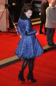 Downton star rocks black tights