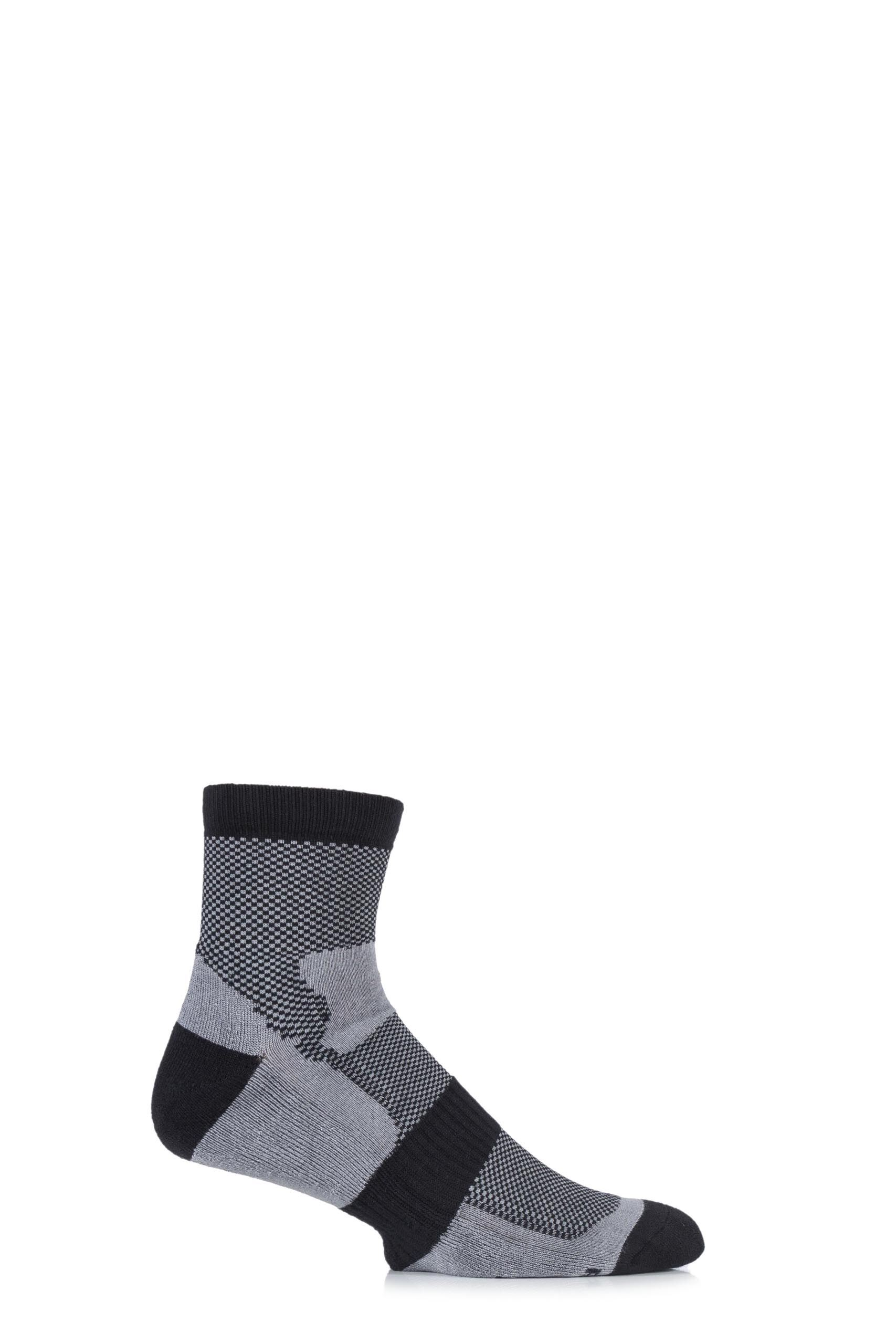Image of 1 Pair Black Bamboo Cushioned Sports Socks Men's 6-11 Mens - HJ Hall