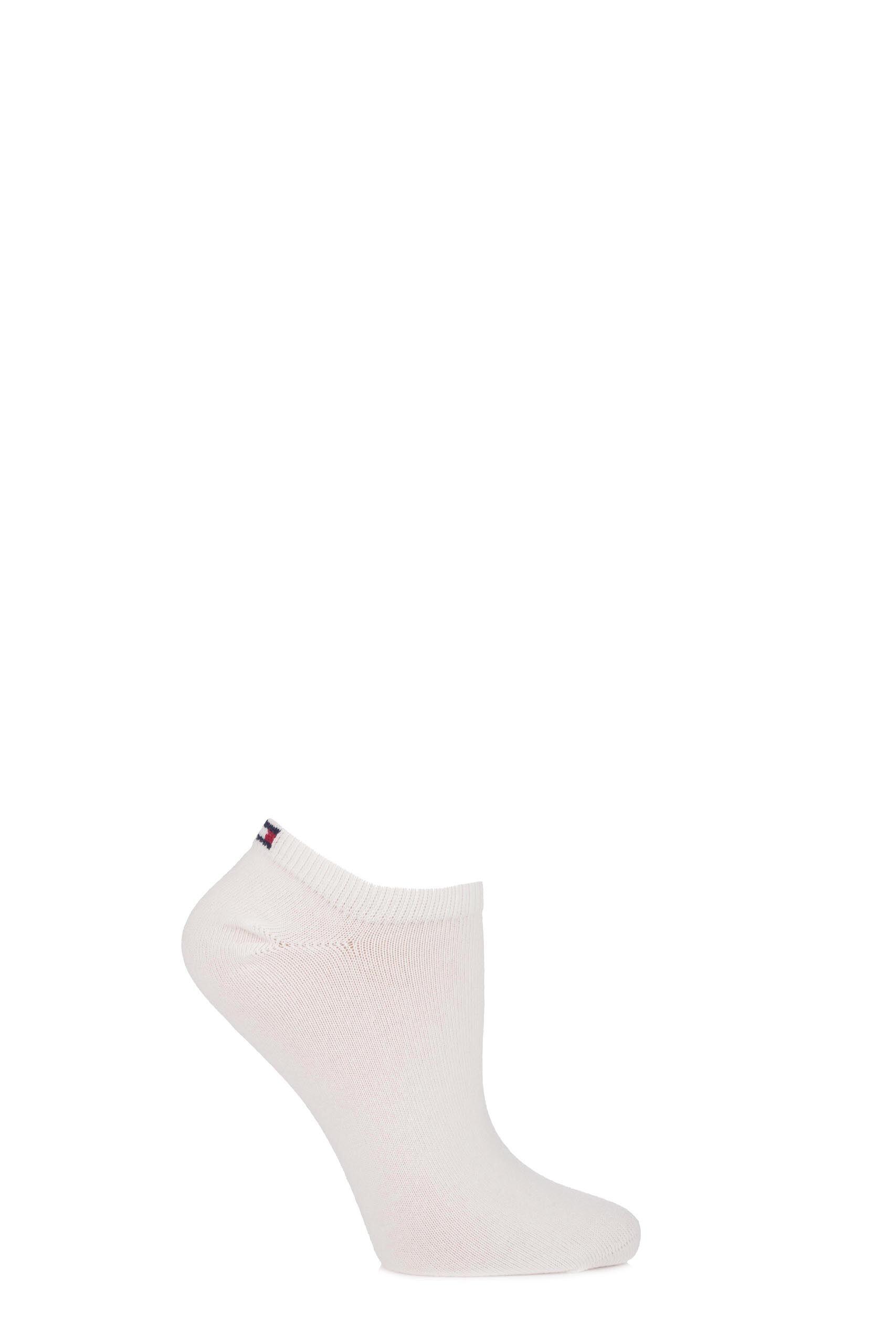 2 Pair Whisper White Plain Cotton Sneaker Socks Ladies 2.5-5 Ladies - Tommy Hilfiger