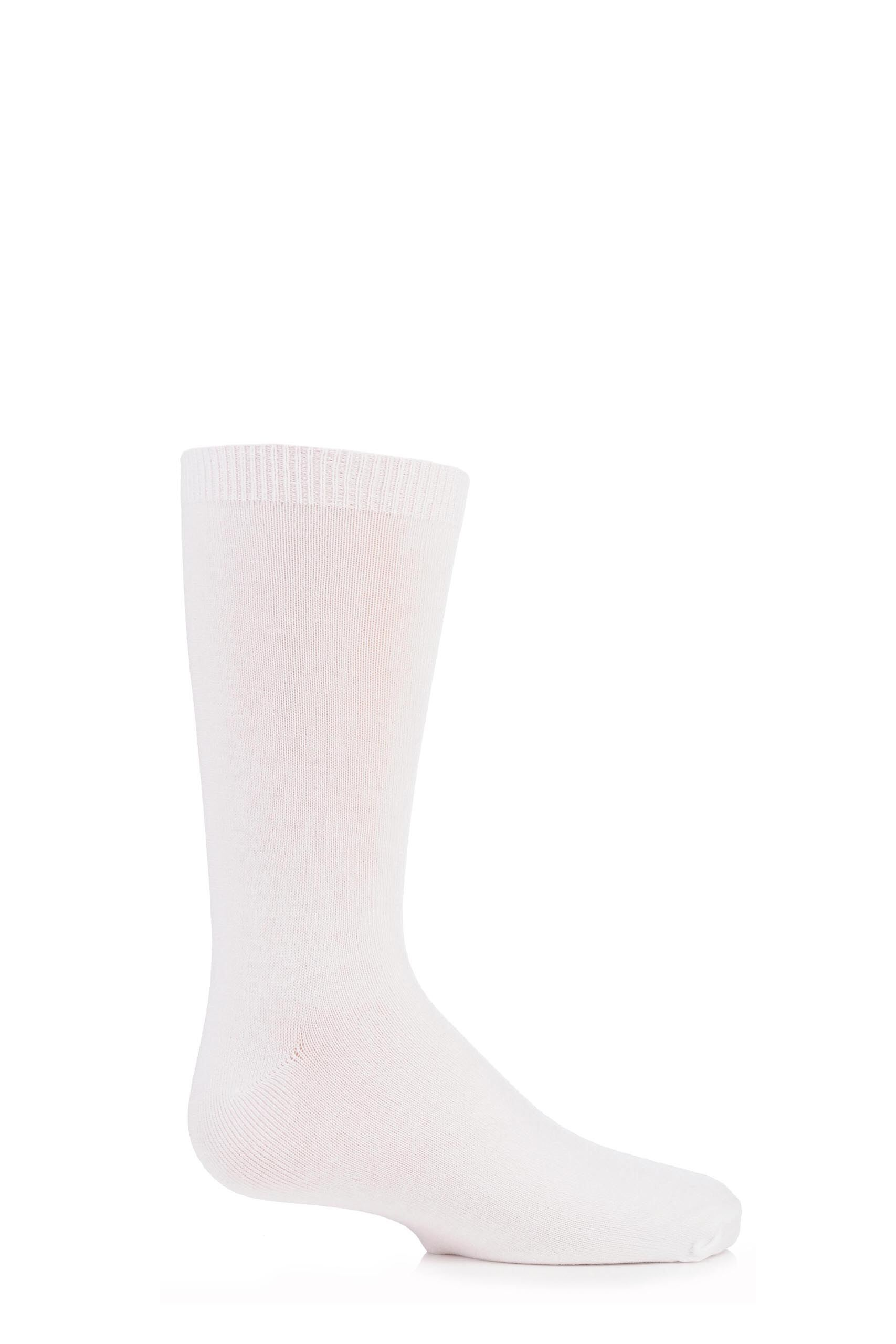 Image of 1 Pair White Plain Bamboo Socks with Comfort Cuff and Smooth Toe Seams Kids Unisex 9-12 Kids (4-7 Years) - SOCKSHOP