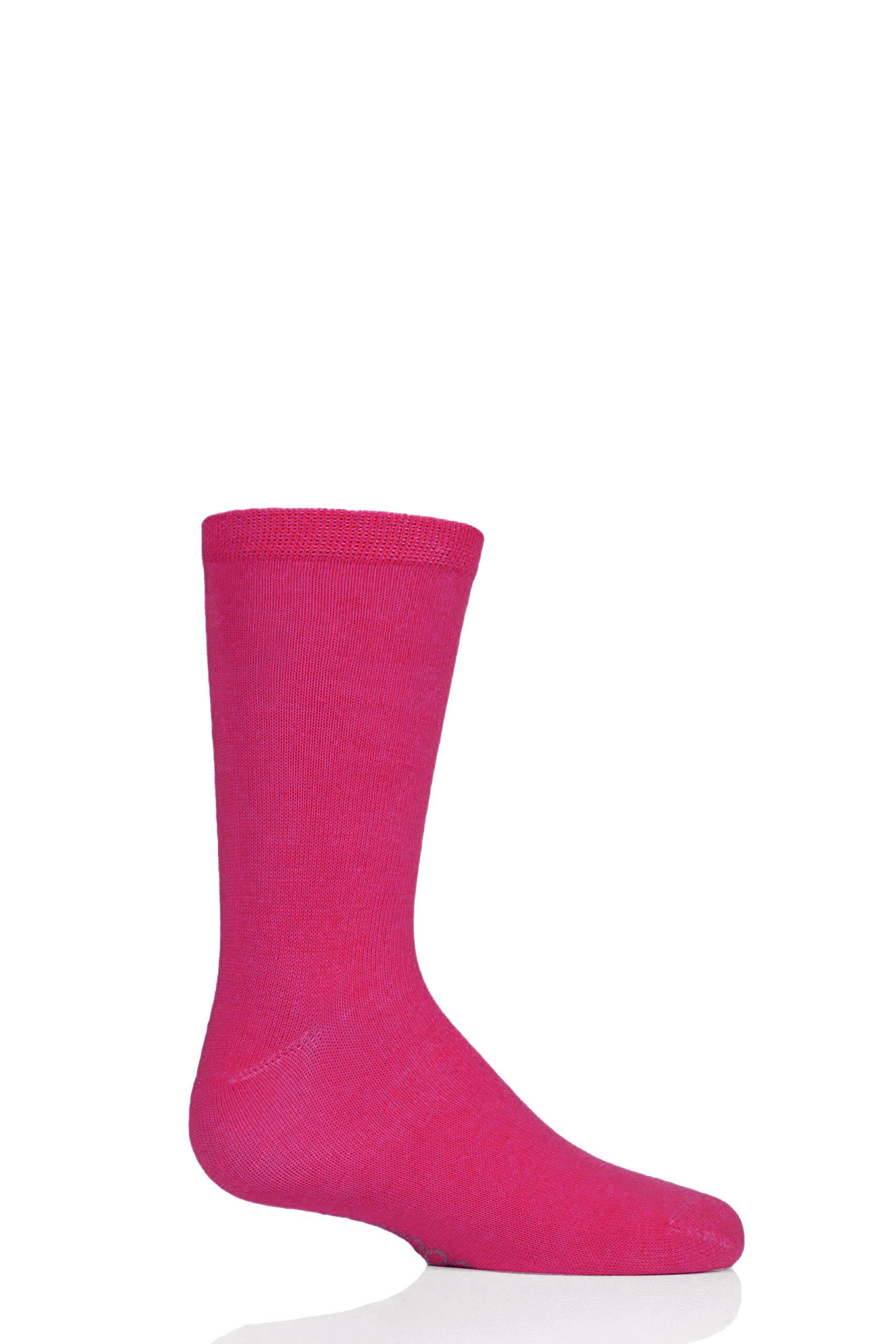Image of 1 Pair Dark Pink Plain Bamboo Socks with Comfort Cuff and Smooth Toe Seams Kids Unisex 12.5-3.5 Kids (8-12 Years) - SOCKSHOP
