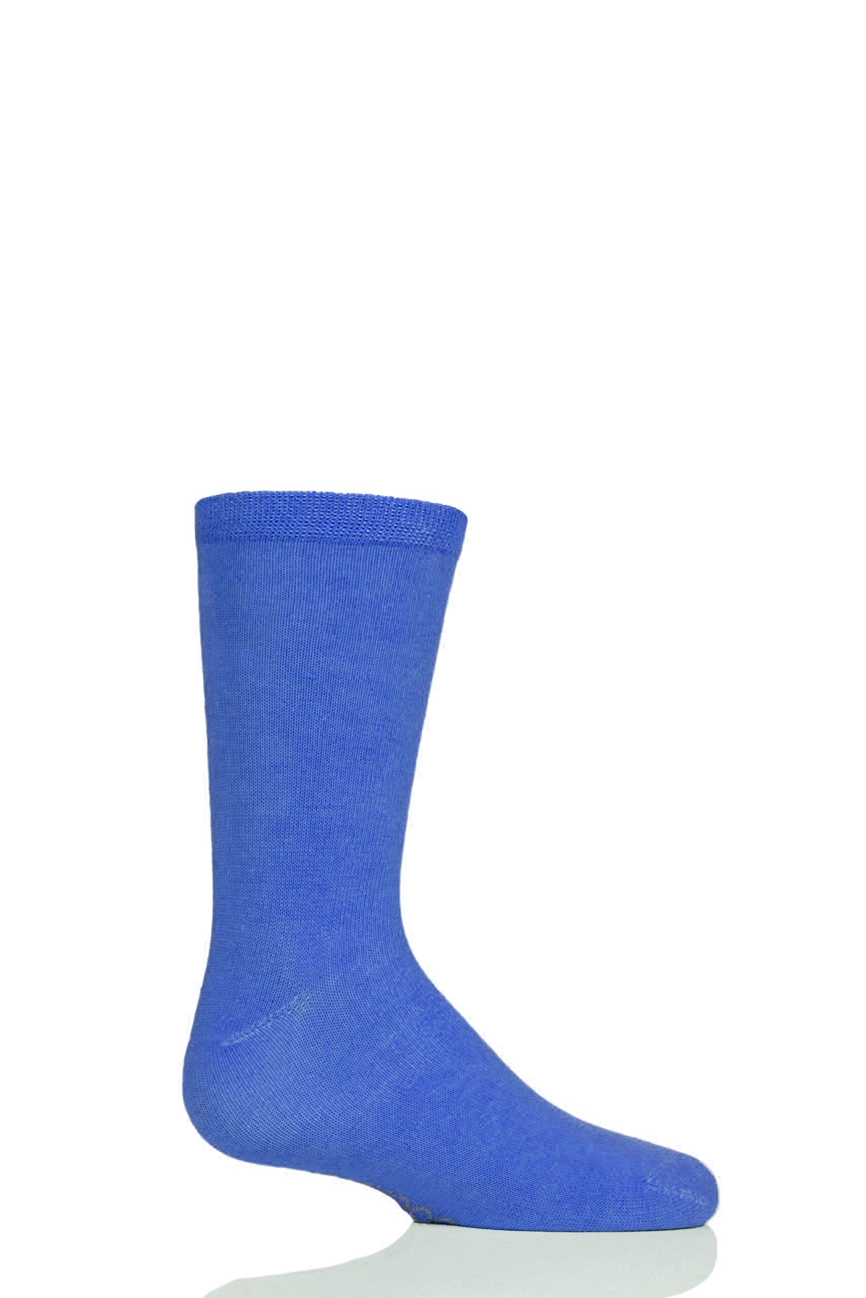 Image of 1 Pair Denim Plain Bamboo Socks with Comfort Cuff and Smooth Toe Seams Kids Unisex 9-12 Kids (4-7 Years) - SOCKSHOP