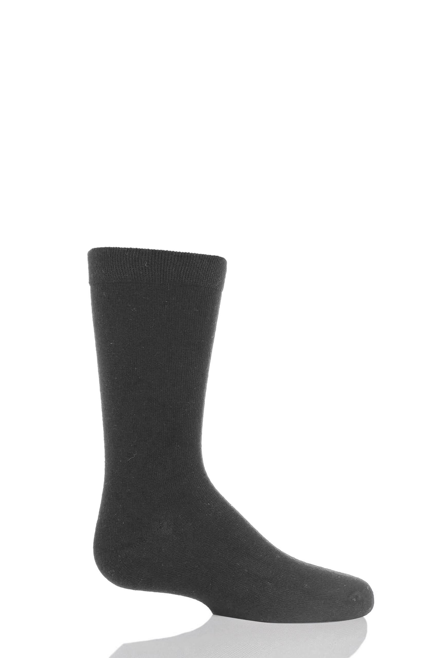 Image of 1 Pair Grey Plain Bamboo Socks with Comfort Cuff and Smooth Toe Seams Kids Unisex 12.5-3.5 Kids (8-12 Years) - SOCKSHOP