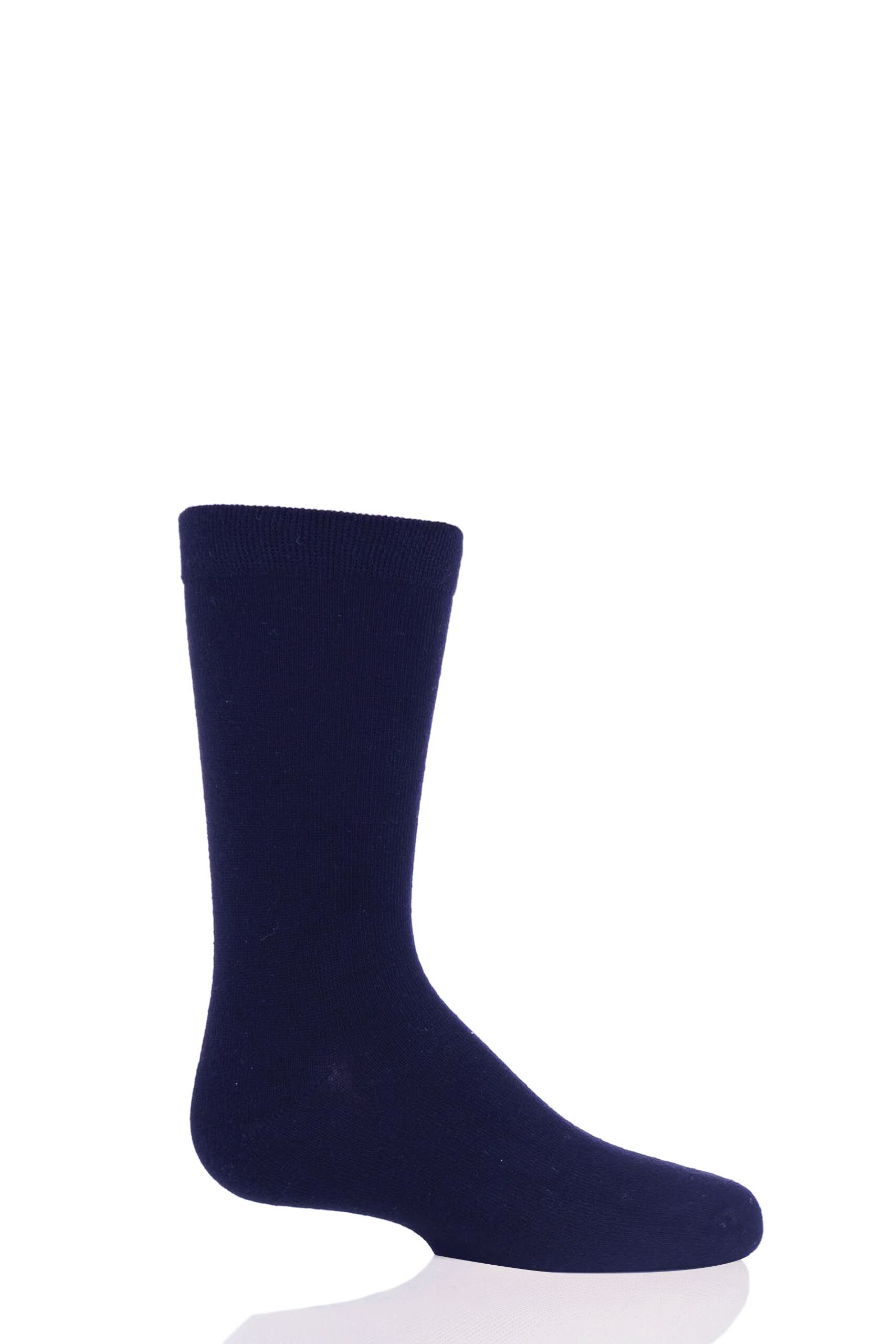 Image of 1 Pair Navy Plain Bamboo Socks with Comfort Cuff and Smooth Toe Seams Kids Unisex 12.5-3.5 Kids (8-12 Years) - SOCKSHOP
