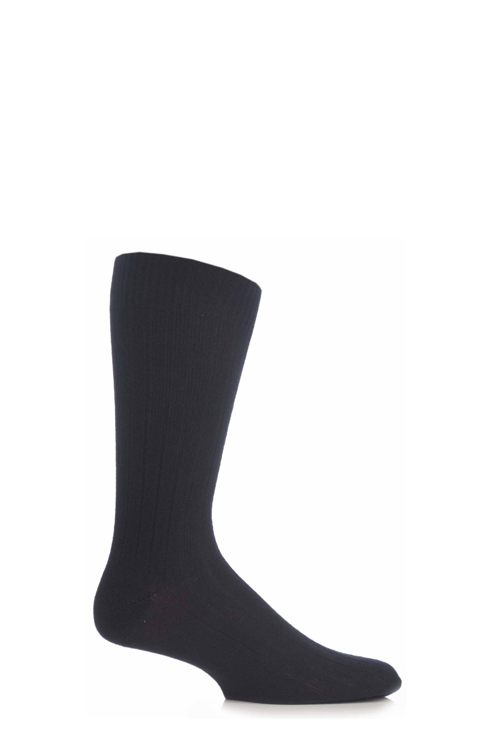 Image of 1 Pair Black 85% Cashmere Rib Socks Men's 7.5-9.5 Mens - Pantherella