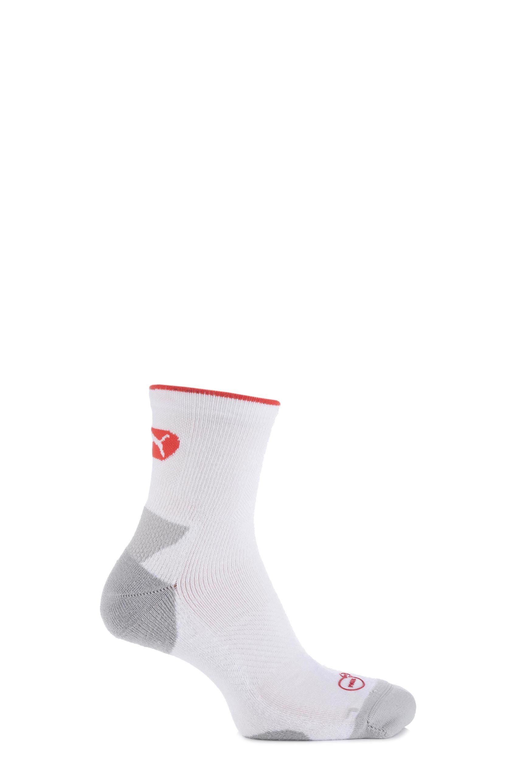 Image of 1 Pair White PowerCELL Performance and Mid-Weight Crew Training Socks Unisex 6-8 Unisex - Puma