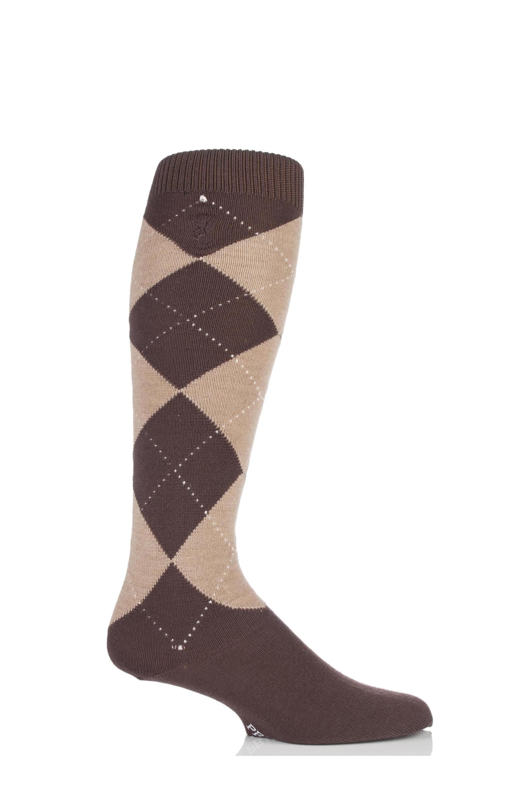 Image of 1 Pair Brown 80% Cashmere Argyle Pattern Knee High Socks Men's 7-11 Mens - Pringle of Scotland